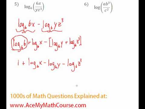 Logarithms - Expanding Log Expressions #5-6