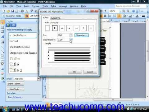 Publisher Tutorial Creating Custom Bullets and Modifying Numbering Microsoft Training Lesson 4.7