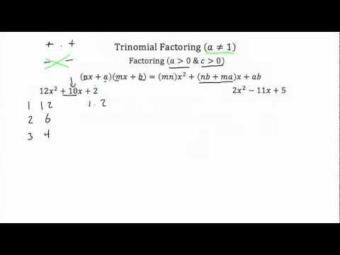 Trinomial Factoring (a≠1) PT 1- Textbook Tactics