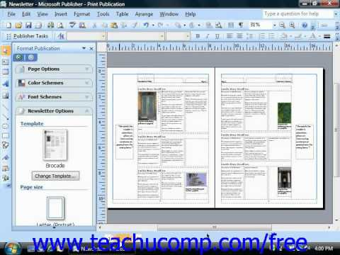 Publisher 2003 Tutorial Using the Two Page Spread View Microsoft Training Lesson 13.7