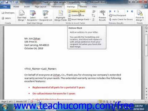 Word 2010 Tutorial Inserting and Deleting Merge Fields Microsoft Training Lesson 18.5
