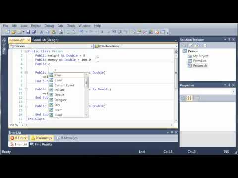 Visual Basic Tutorial - 91 - Introduction To Classes