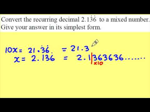 Recurring decimals to fractions part 2 of 2