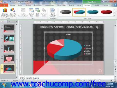 PowerPoint 2010 Tutorial Inserting Charts Microsoft Training Lesson 17.1