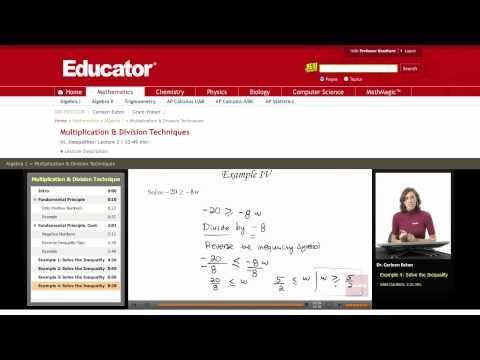 Algebra: Inequalities (Multiplication Division Techniques)