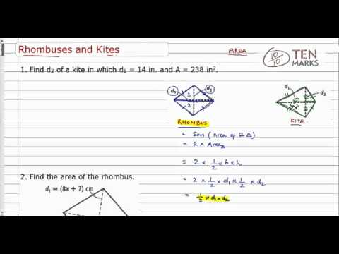 Find Measurements of Rhombuses and Kites
