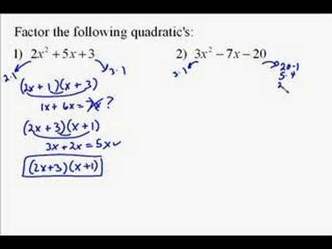 A110.13 Factoring Quadratic Expressions