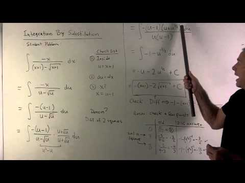 Example of Integration by Substitution 1: f(x) = (-x)/[(x+1)-sqrt(x+1)]