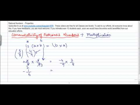 1366. Mathematics   Class VIII   Properties of Rational No  Commutativity of Multiplication