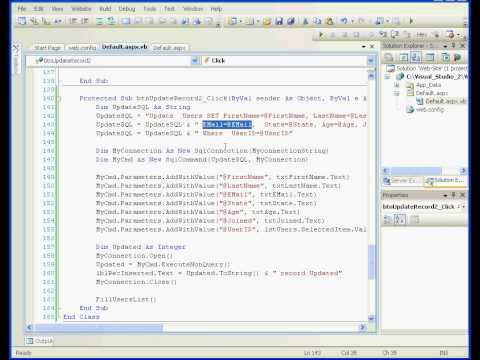Visual Basic tutorial Parameterized Command