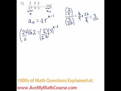 Geometric Sequences - Finding the Number of Terms #7