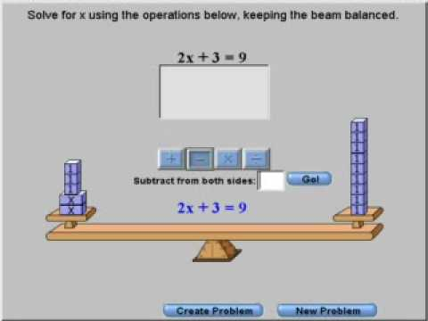Using a balance beam to solve equations