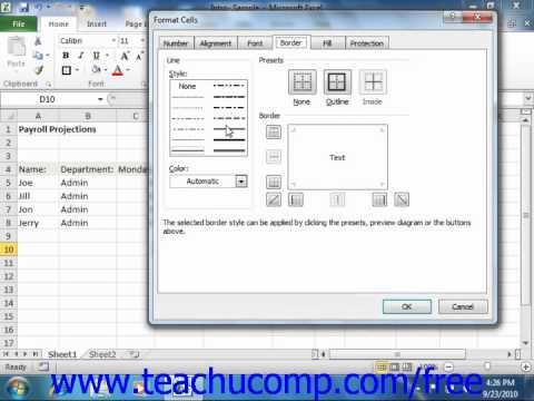 Excel 2010 Tutorial The Format Cells Dialog Box Microsoft Training Lesson 7.2