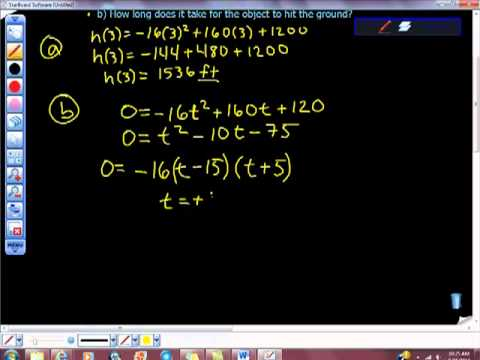Quadratic Equation Word Problem Ashley Algebra II Falling Object