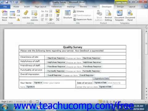Word 2010 Tutorial Adding Instructional Text Microsoft Training Lesson 21.5