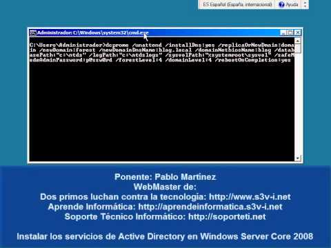 Windows Server 2008 r2 Server Core - Instalación de Active Directory