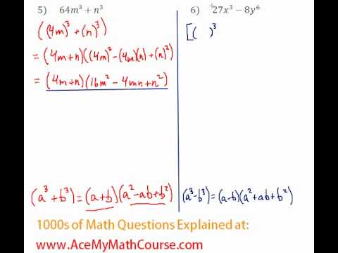 Polynomials - Factoring Two Cubes #5-6