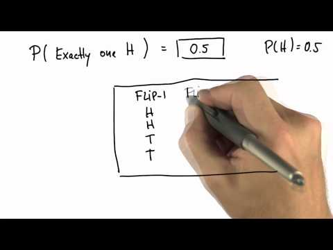 One Head 1 Solution - Intro to Statistics - Probability - Udacity