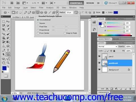 Photoshop CS5 Tutorial Shape Layers & Shape Options Adobe Training Lesson 12.2