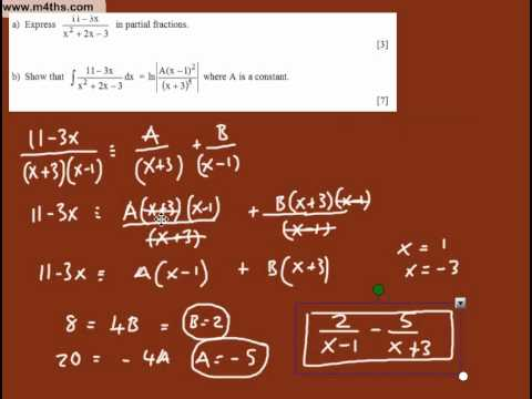 Partial Fractions and Integration C4 (typical exam question)