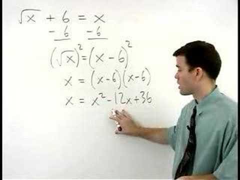 Solving Radical Equations - YourTeacher.com - Algebra Help