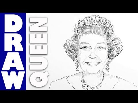 How to draw Queen Elizabeth II