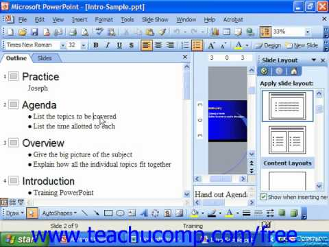 PowerPoint 2003 Tutorial Using the Outlining Toolbar Microsoft Training Lesson 21.1