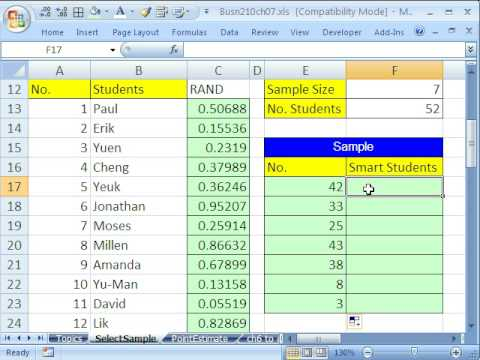 Excel Statistics 74: Taking a Sample with RAND & VLOOKUP