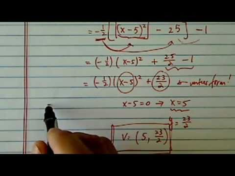 Vertex of Parabola:  f(x)=-1/2x^2+5x-1?
