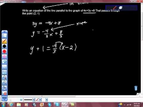 Find an Equation of the Line parallel to Graph That Passes Through the Given Point
