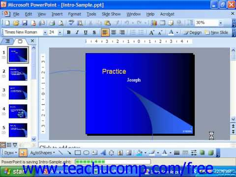 PowerPoint 2003 Tutorial Save Presentation as a Web Page 2003 XP&2000 Microsoft Training Lesson 3.6