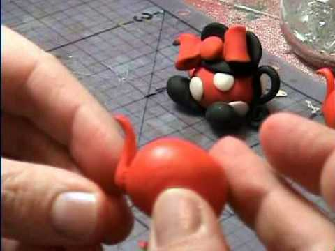 Mickey & Minnie Mouse Polymer Clay Teapots (Miniature)