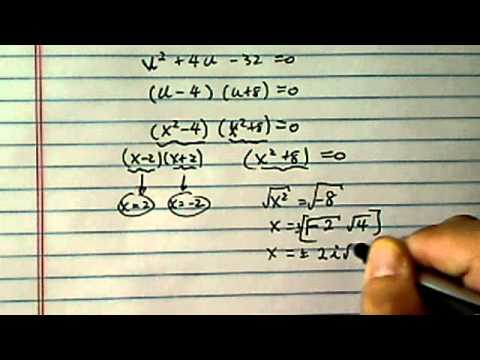 Solve Higher Order Polynomial Equation by Factoring:  x^(4) + 4x^(2) = 32