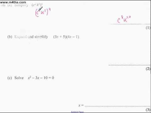 q18 Edexcel Linear Higher June 2011 calculator (quick worked example)