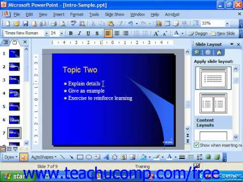 PowerPoint 2003 Tutorial Applying Shadows to Text Microsoft Training Lesson 7.4