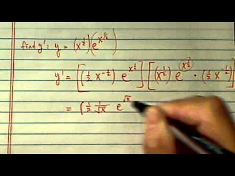 Derivative with Product Rule: y=x^(1/2)e^(x^1/2)
