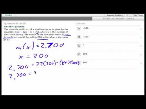 Grockit SAT Math - Multiple Choice: Question 3019