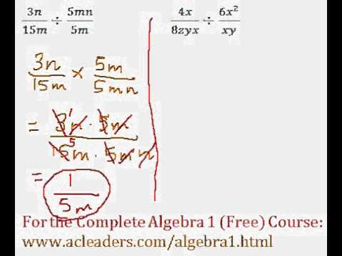 (Algebra 1) Rational Expressions - Division Questions #3-4