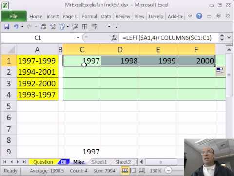 Mr Excel & excelisfun Trick 57: Extract Many Years from Just Two Years
