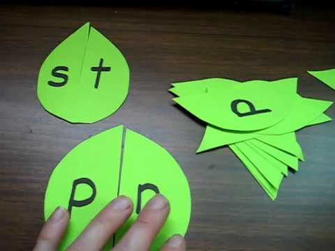 Preschool - Reading-Phonics-Spelling: Make green paper leaves to match into phonetic blends.