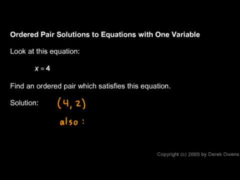 Prealgebra 9.4b - Ordered Pair Solutions to Equations
