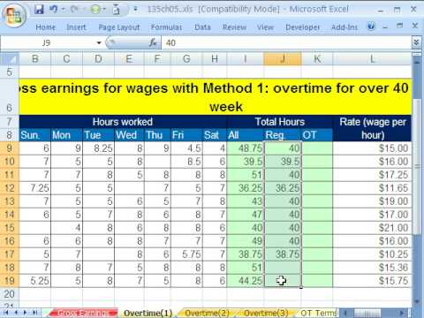 Excel Busn Math 38: Gross Pay and Overtime: 5 Examples