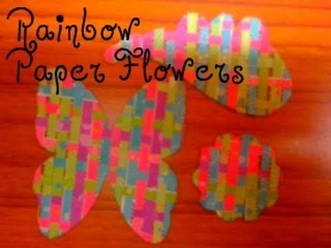 ♥ How to make Rainbow Paper Flowers for your Scrapbook ( • ◡ • ) ♥