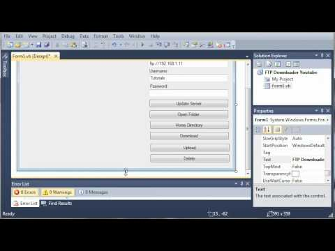 Visual Basic Tutorial - 178 - FTP Downloader Part 1   Creating The GUI