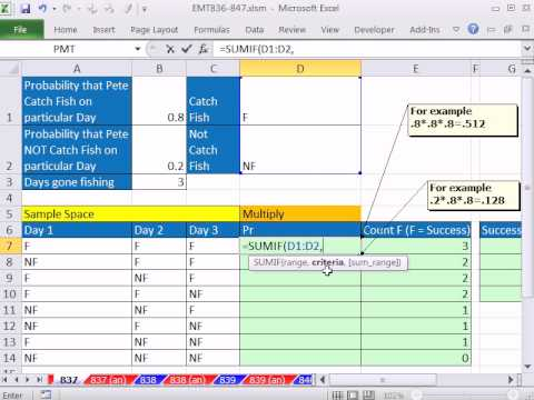 Excel Magic Trick 837: Lookup Multiplying with SUMIF & PRODUCT Experimental Outcome Probability