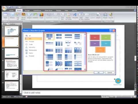 PowerPoint 2007: Using Smart Art Part 1