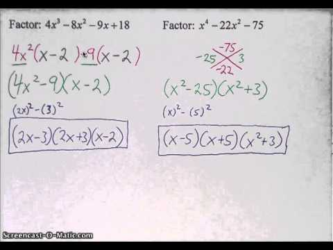 Factoring Polynomials by Grouping and other Methods