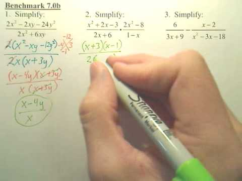 Benchmark 7b p1 - Operations with Rational Polynomial Expressions - Algebra 2