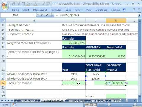 Excel Statistics 35: Weighted Mean & Geometric Mean