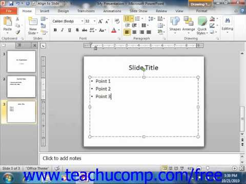 PowerPoint 2010 Tutorial Adding Text to Slides Microsoft Training Lesson 4.1